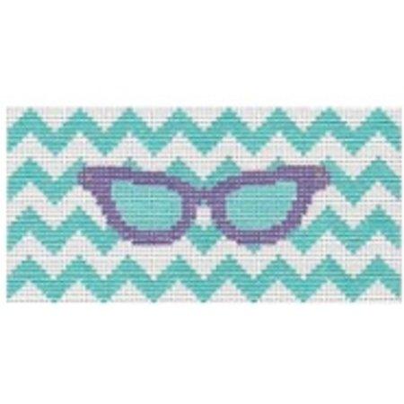 Eye Glass Case - Purple with green chevron