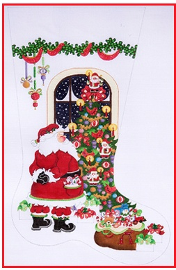 Strictly Christmas Stocking Santa with Tree