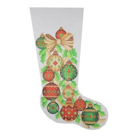 Gold bow and Jeweled Ornaments Stocking