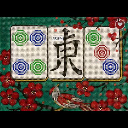 Cherry Blossom on Green Magjong
