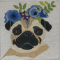 Pug with Floral Crown