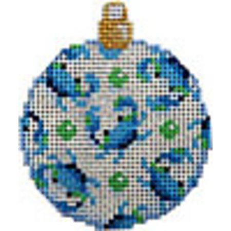 Blue Crab/White Mini Ball Ornament