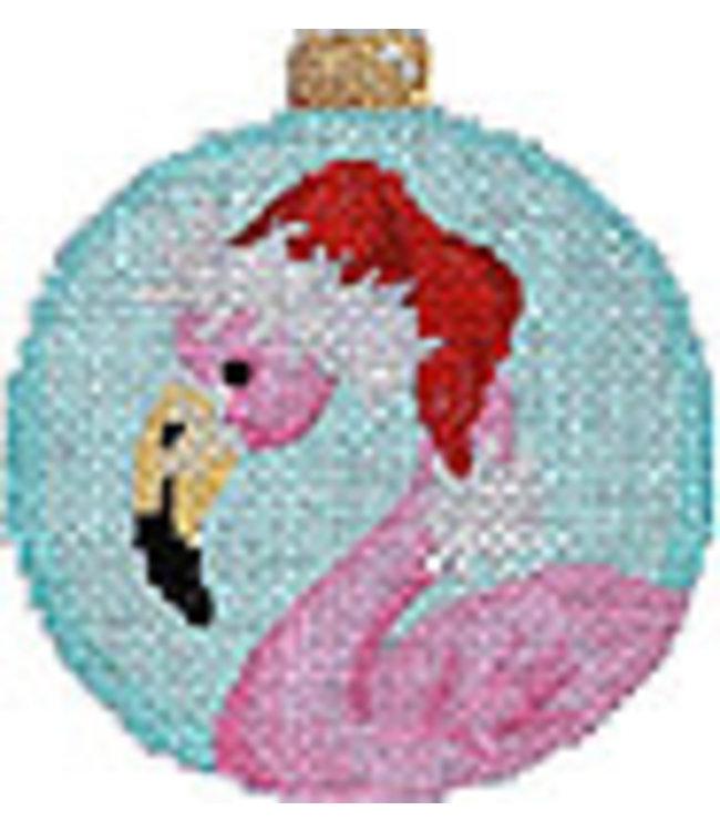 Flamingo/Santa Hat Ball Ornament