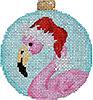 Flamingo/Santa Hat Ball Ornament