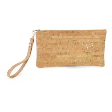 Cork Wristlet with Silver Flecks / Evening Bag Has Black Strap