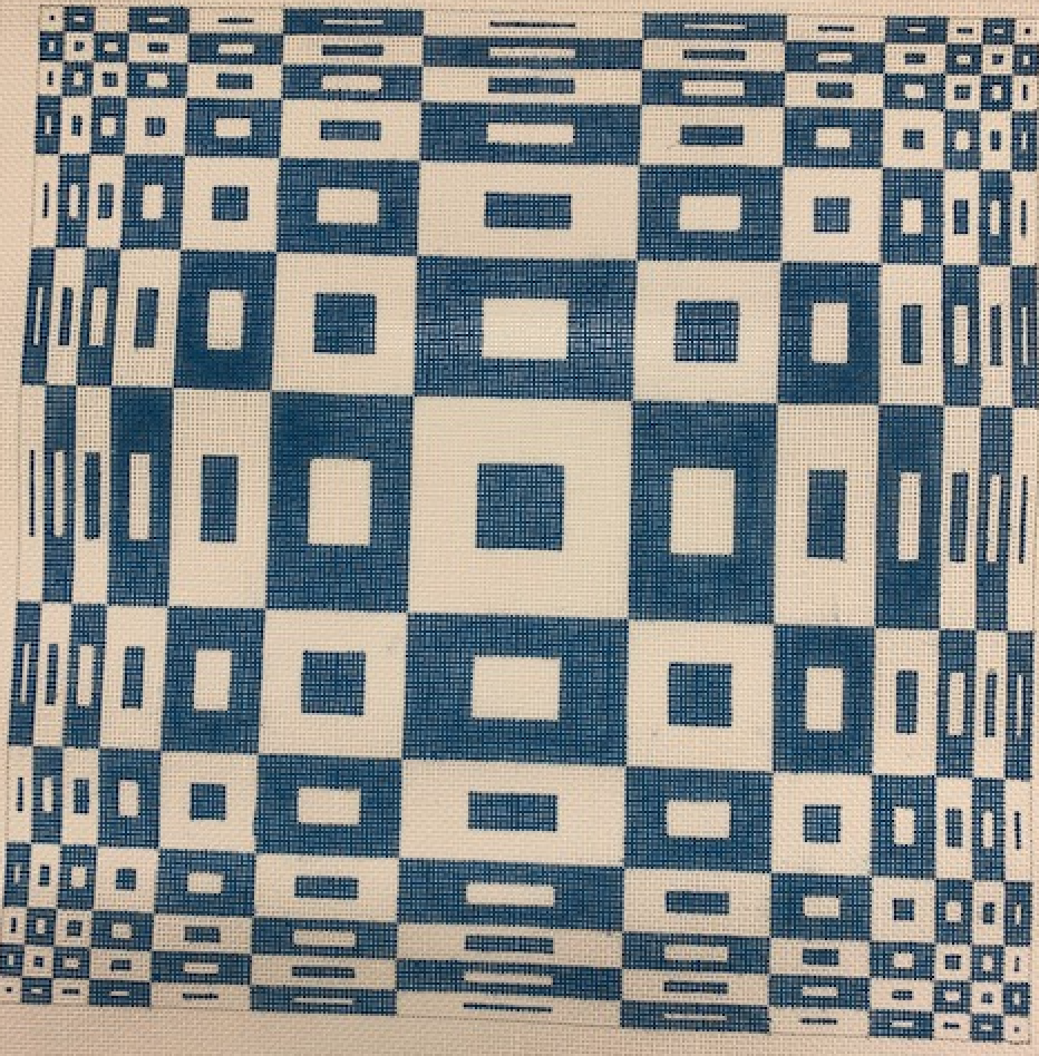 Blue/White Square Geometric