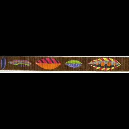 Brown Horizontal Leaves Belt Canvas