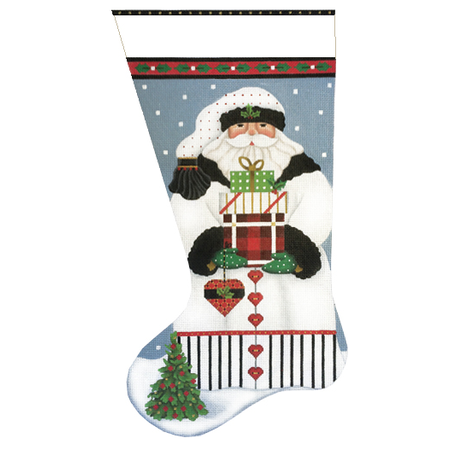 White Santa w/ Heart Stocking