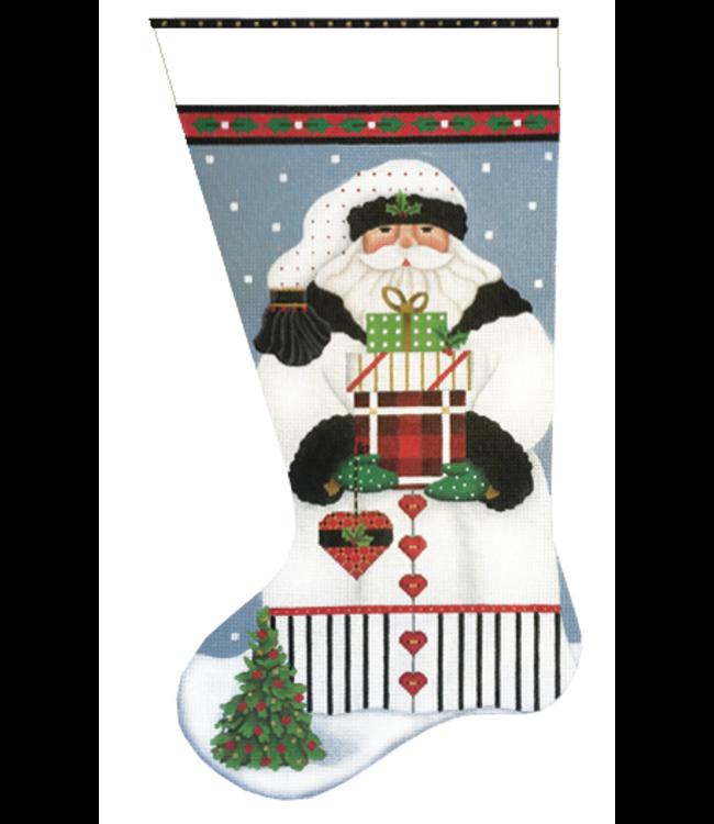 White Santa w/ Heart Stocking
