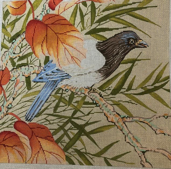 Bird with Orange Leaves