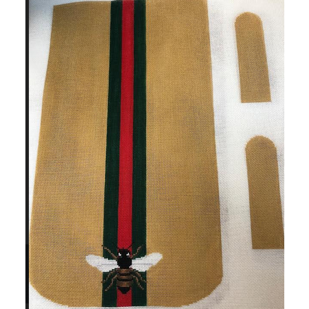 Bee Purse with Red and Green Stripe on Gold