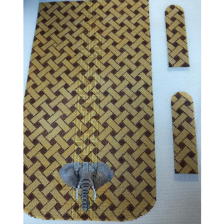 Elephant on Woven Background Purse