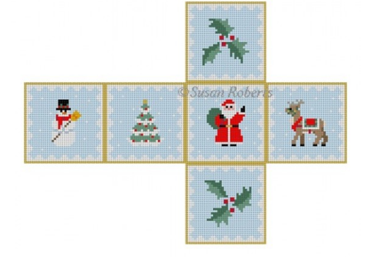 Christmas Medley Cube Ornament