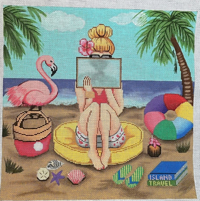 Girl Stitching - Beach