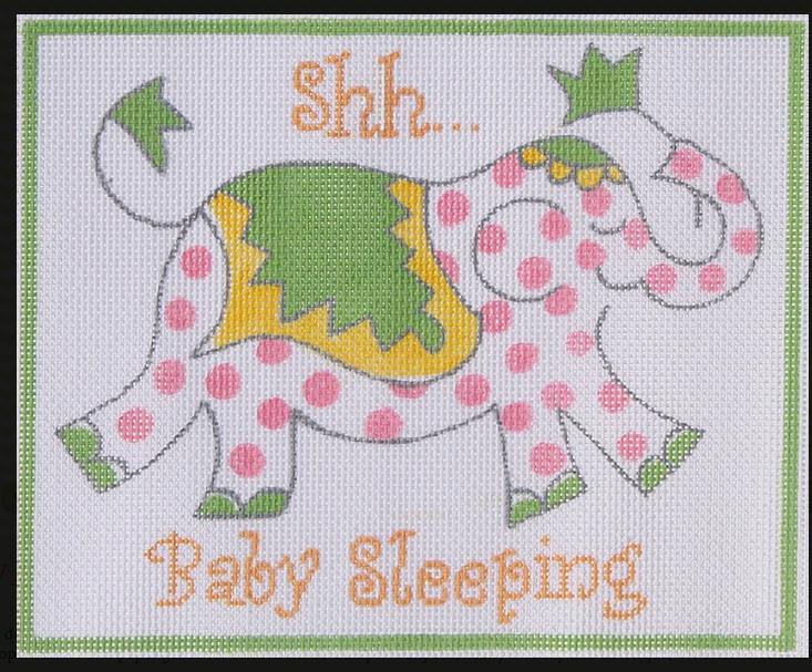 shh... baby sleeping elephant pink