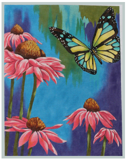 Pink Daises & Butterfly