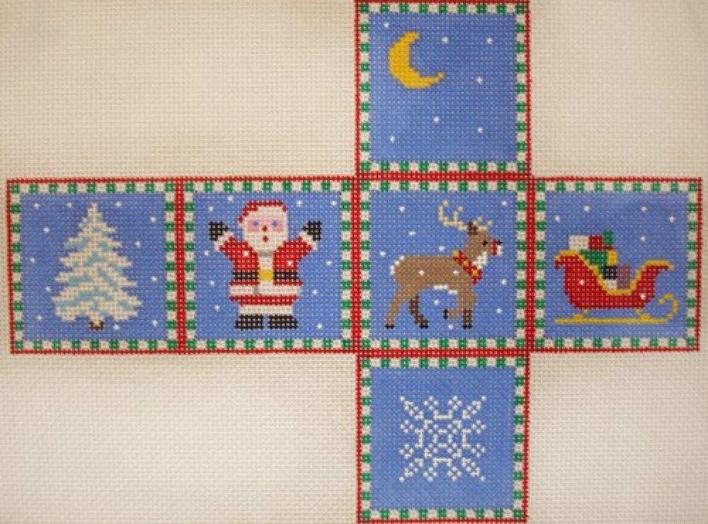Santa, Sleigh, Reindeer & Tree Cube Ornament 18M