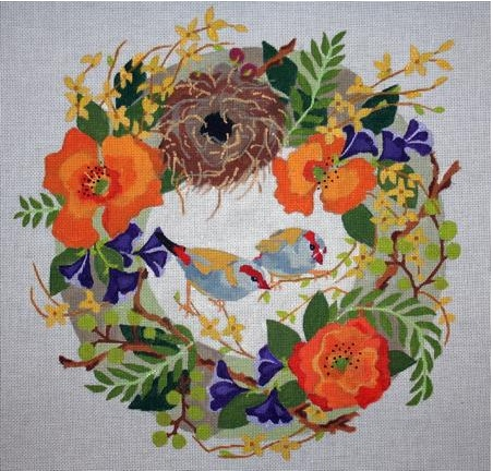 Finches In Wreath