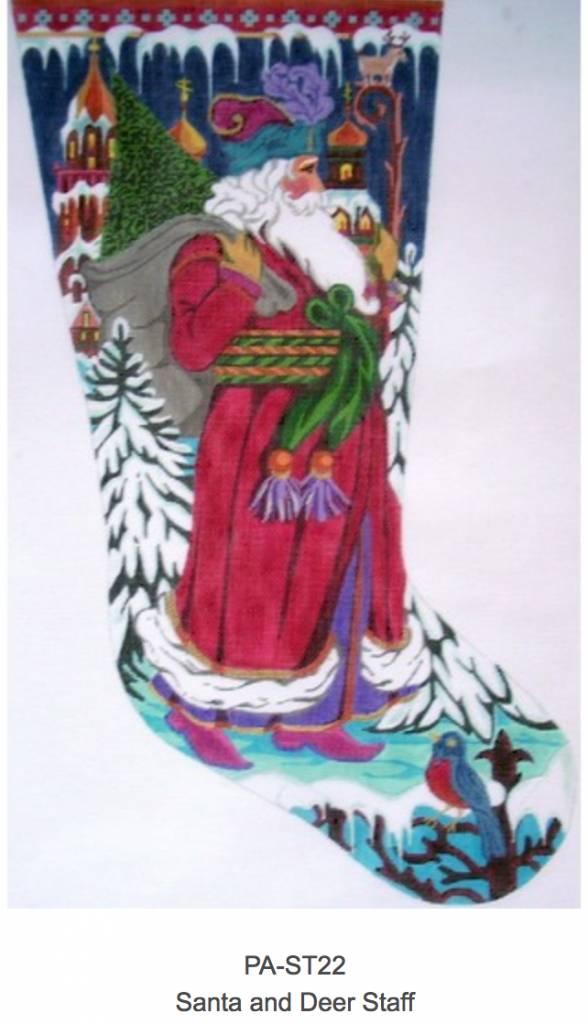 Santa and Deer Staff Stocking