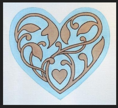 Aqua Filigree Heart