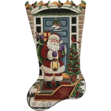 Santa at the Door Stocking