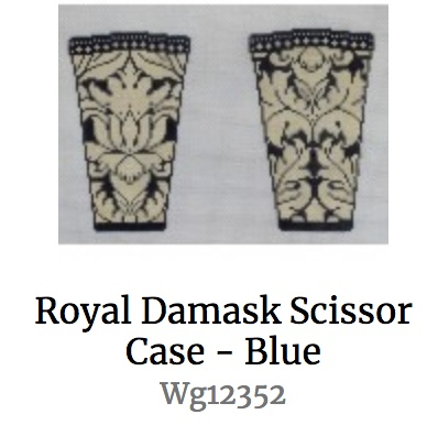Royal Damask Scissor Case - Blue