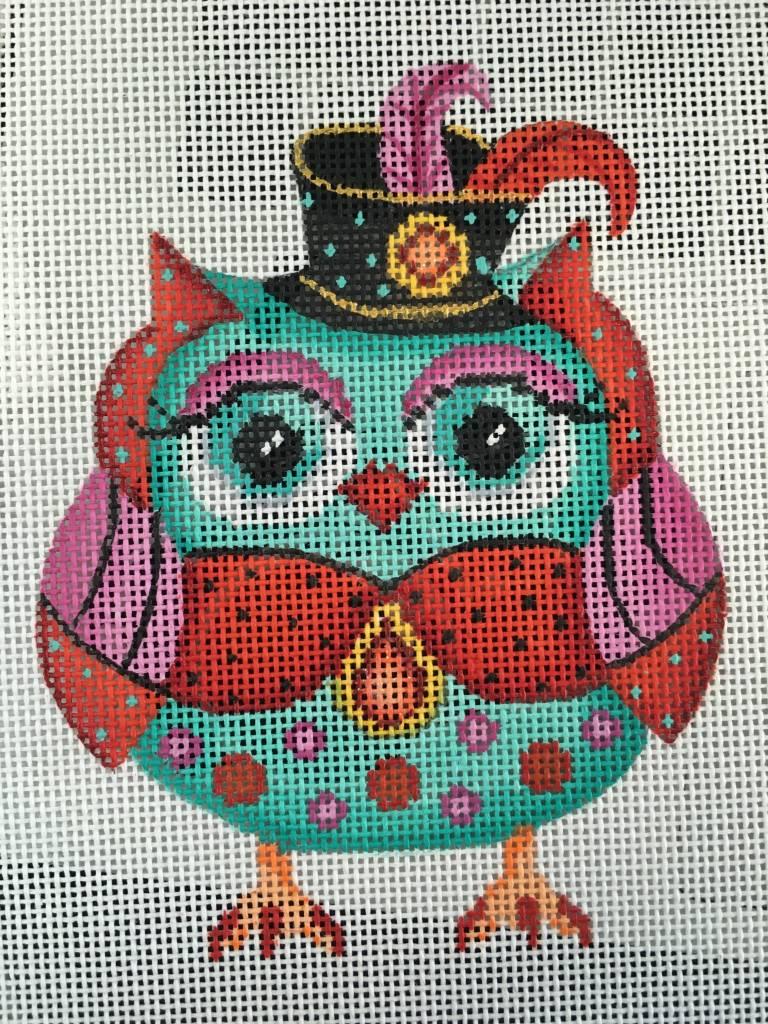 Turq Owl with Black Hat