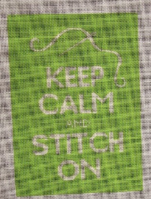 Green Keep Calm and Stitch On