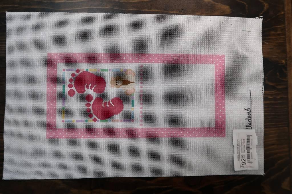 Girls Footprint Sampler Birth Announcement