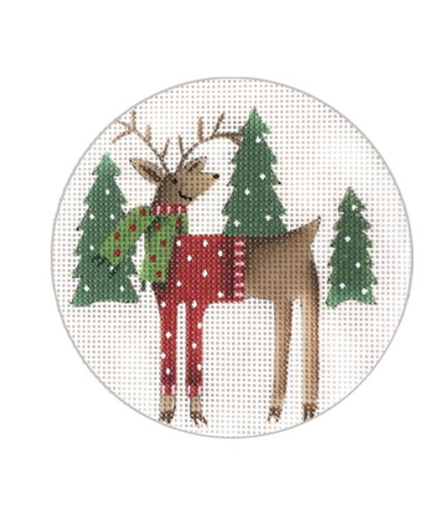 Scarf Deer Ornament