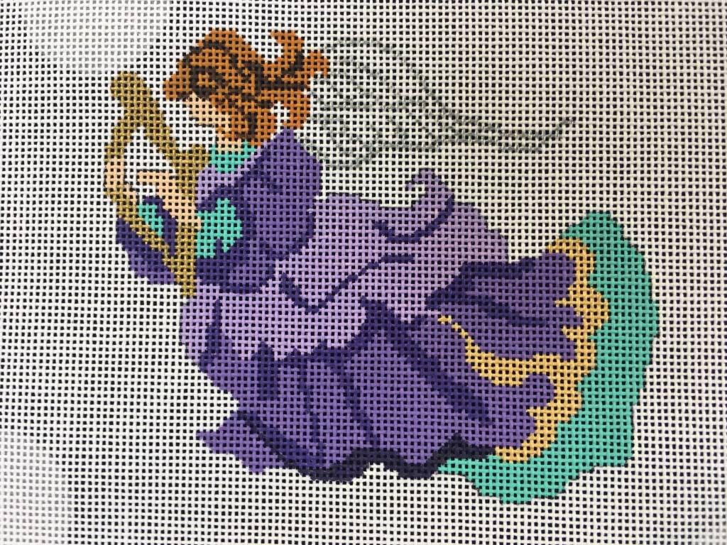 Purple Robed Angel w Harp