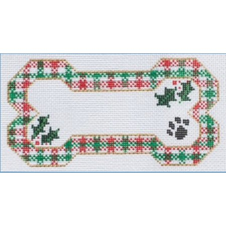 Red and Green Plaid Dog Bone