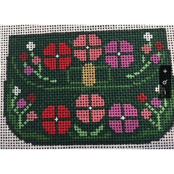 Small Purse Green with Flowers