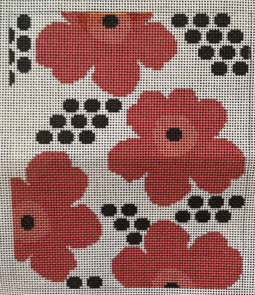 Floral Insert - Red Flowers with Black