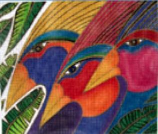 Rainbow Birds on 13 Mesh