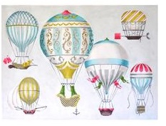 Hot Air Balloon- Multi Blue- 13 ct.