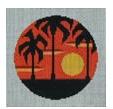 Palm Trees Sunset Ornament