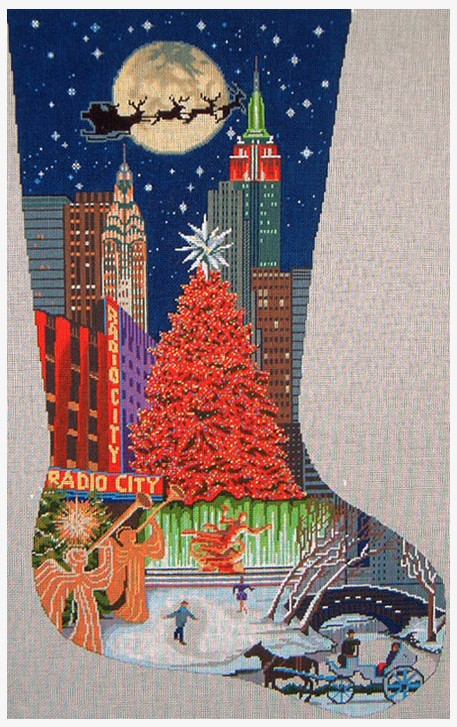 Needlepoint Christmas Stockings.New York Christmas Stocking