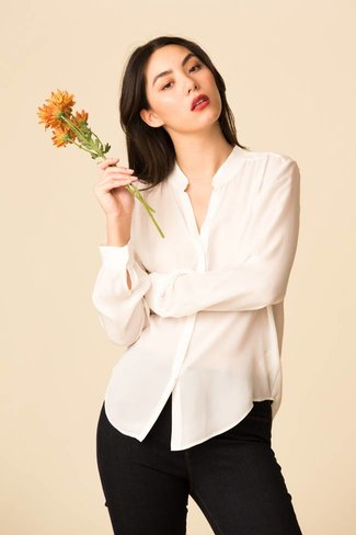 L'Agence L'Agence Bianca Band Collar Blouse - Ivory