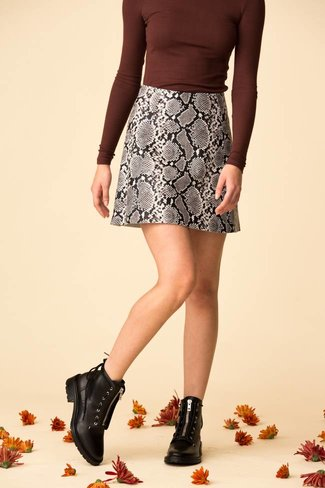 VEDA VEDA Leather Circle Skirt - Python