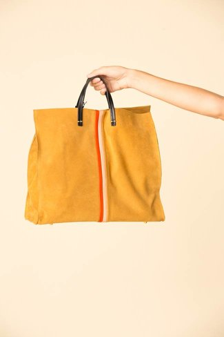 Clare V. Clare V. Simple Tote - Mustard w/ Poppy and Blush Desert Stripes