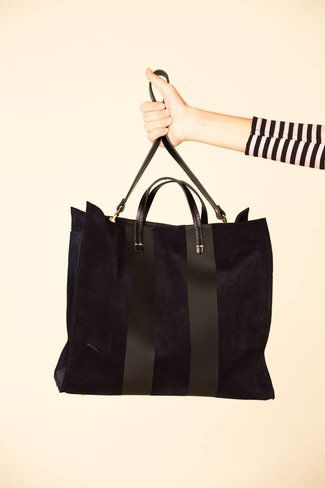 Clare V. Clare V. Suede/Racing Stripes Simple Tote