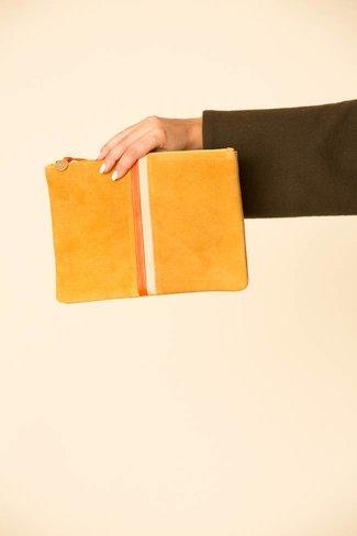 Clare V. Clare V. Flat Clutch - Mustard w/ Poppy & Blush Desert Stripes