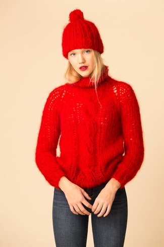 Maiami Maiami Mohair Basic Cap with PomPom - Red