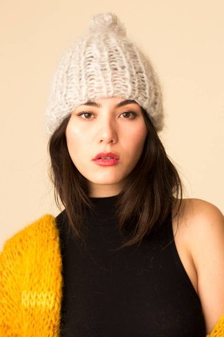 Maiami Maiami Mohair Basic Cap with PomPom - Light Melange