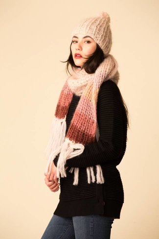 Maiami Maiami Mohair Basic Scarf w/ Gradient Border - Nude