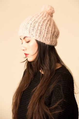 Maiami Maiami Mohair Basic Cap with PomPom - Nude