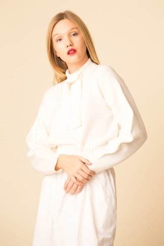 Tibi Tibi Airy Extrafine Wool Sweater Tie Collar Pullover