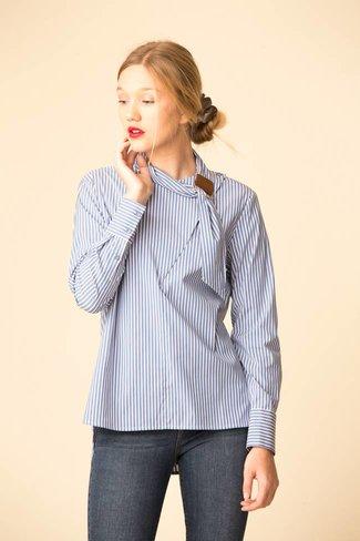 Tibi Tibi Kaia Stripe  Asymmetric Tie Collar Shirt