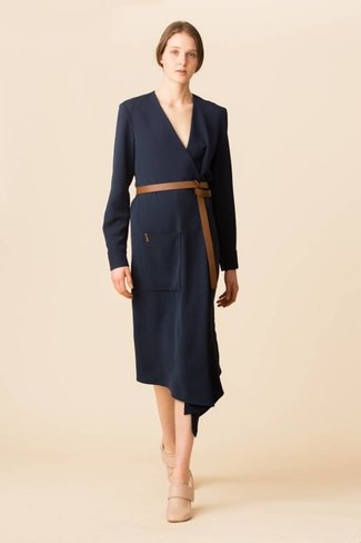 Tibi Tibi Drape Twill Midi Wrap Dress
